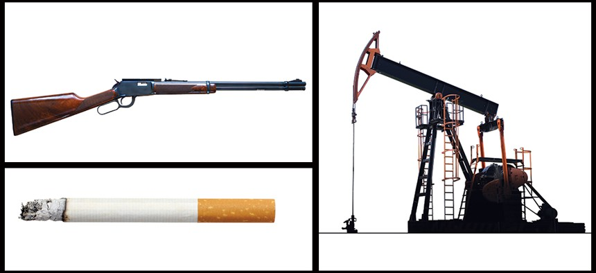 Guns, cigarette and fossil fuels
