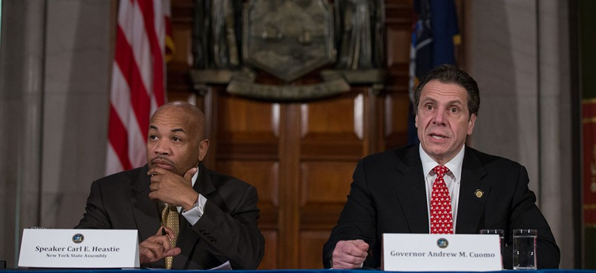 New York State Assembly Speaker Carl Heastie and Governor Andrew Cuomo