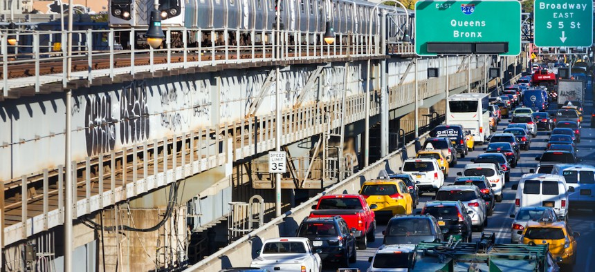 Heavy traffic on the Williamsburg Bridge.