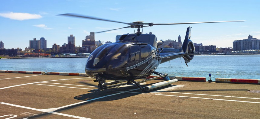 A helicopter on the Pier 6 helipad in Lower Manhattan.