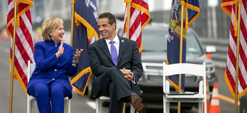 Hillary Clinton and Governor Andrew Cuomo at the ribbon-cutting of the second span of the Governor Mario M. Cuomo Bridge.
