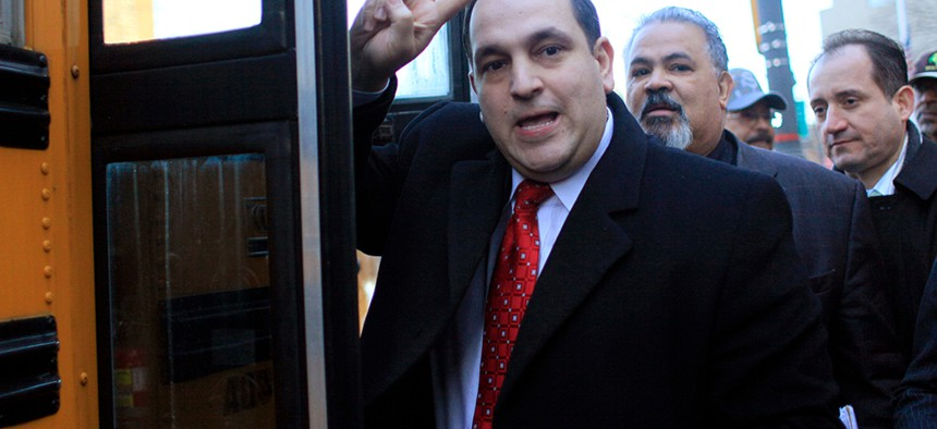 Then state Sen. Hiram Monserrate leaving Manhattan Federal Court in February of 2010.