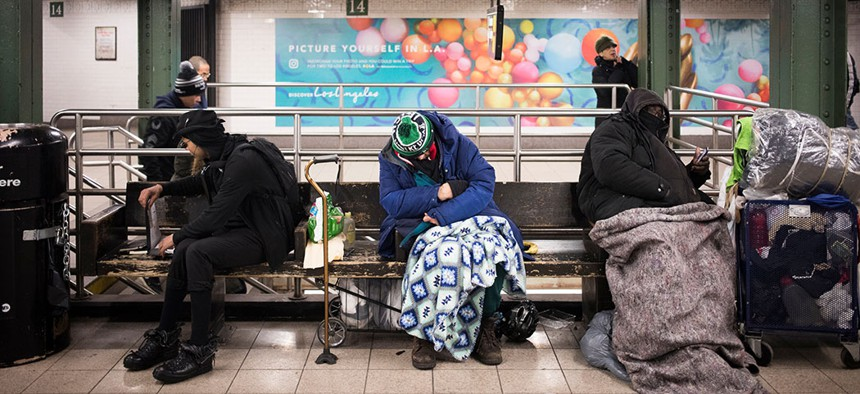 People experiencing homelessness in New York City.
