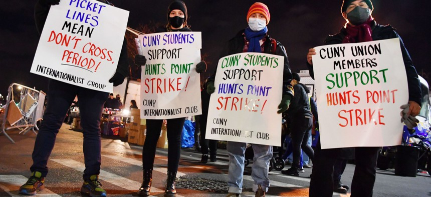 Supporters of the strikers at the Hunts Point Produce Market in Queens on January 22.