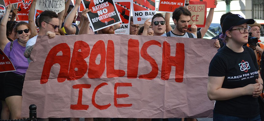 A protest march calling on the government to abolish ICE in New York City, 2018.