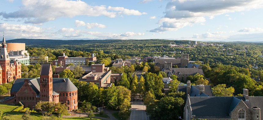 An overlook of Cornell University Campus from the Uris Library in Ithaca, New York.