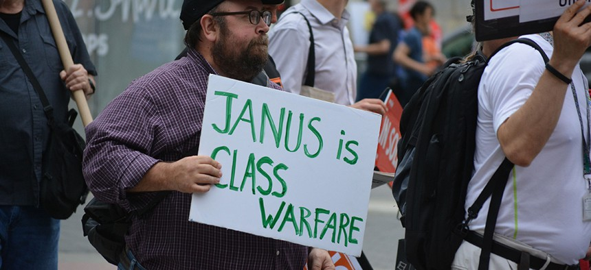 Pro-union protesters rally in lower Manhattan against the U.S. Supreme Court's Janus v. AFSCME ruling in June.
