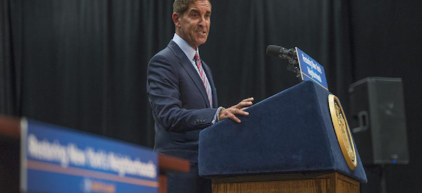State Senator Jeff Klein speaking at a meeting with Gov. Andrew Cuomo