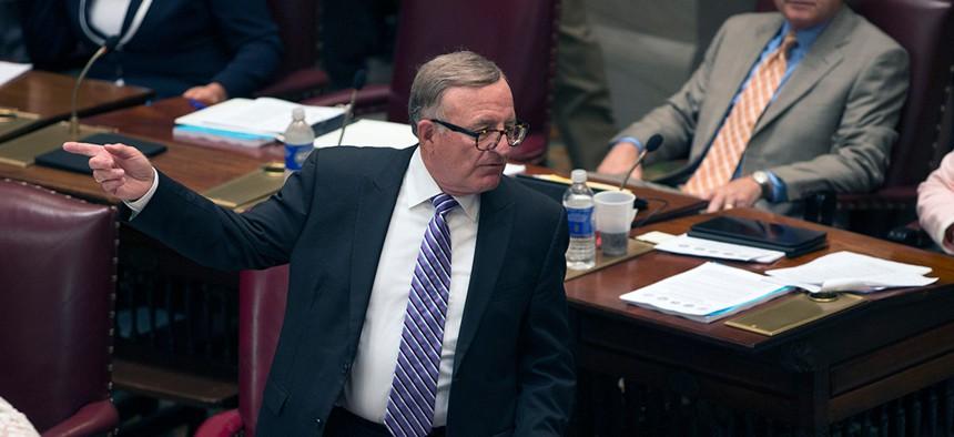 State Sen. John DeFrancisco arguing on the floor of the New York Senate.