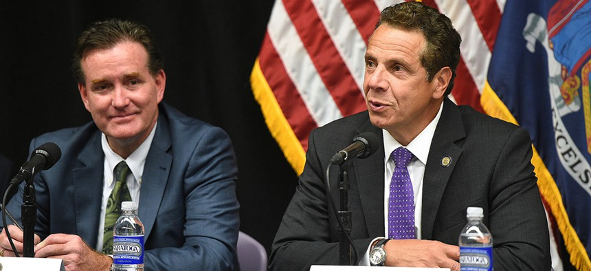 New York Governor Andrew Cuomo and Senate Majority Leader John Flanagan.