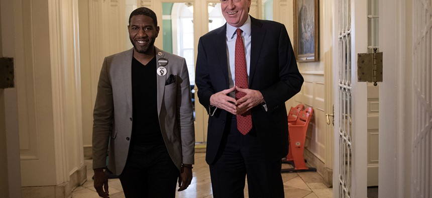 Public advocate-elect Jumaane Williams meets with New York City Mayor Bill de Blasio at City Hall the day after his election victory.