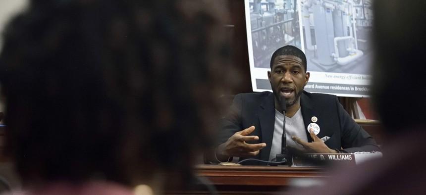 New York City Councilman Jumaane Williams questions NYCHA chair Shola Olatoye.