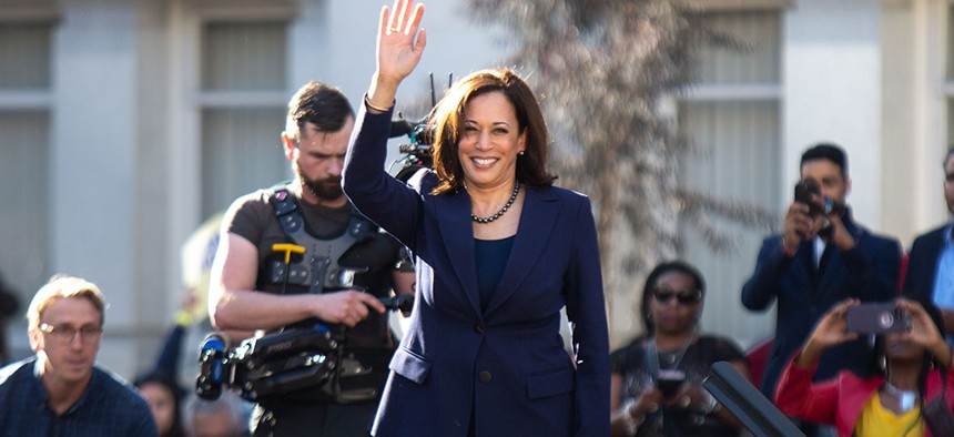 Senator Kamala Harris waves to crowd after announcing her candidacy for president in January, 2019.