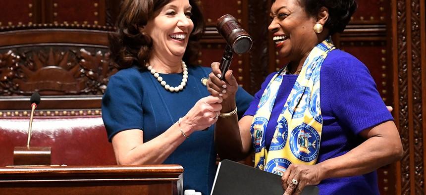 Lt. Gov. Kathy Hochul hands the Senate gavel to new Senate Majority Leader Andrea Stewart-Cousins.