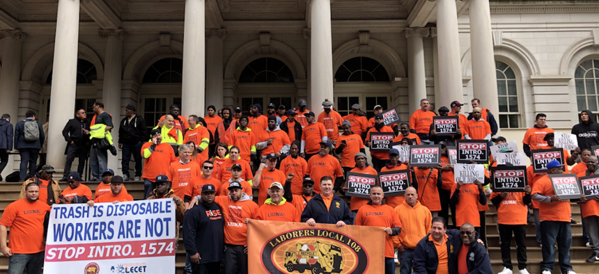 Laborers Local 108 rally outside of City Hall.