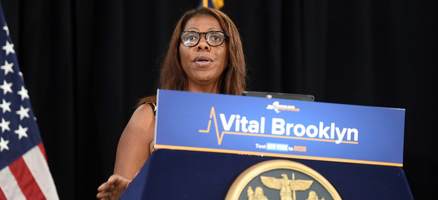 New York City Public Advocate and state Attorney General candidate Letitia James speaks at Gov. Andrew Cuomo's announcement of locations, expanded services and partnerships for Vital Brooklyn's $210 Million, 32-Site Ambulatory Care Network.