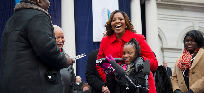 Letitia James being sworn in as New York City Public Advocate.
