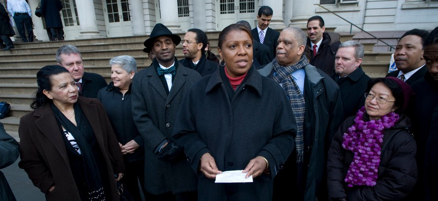 Letitia James speaks in front of City Hall