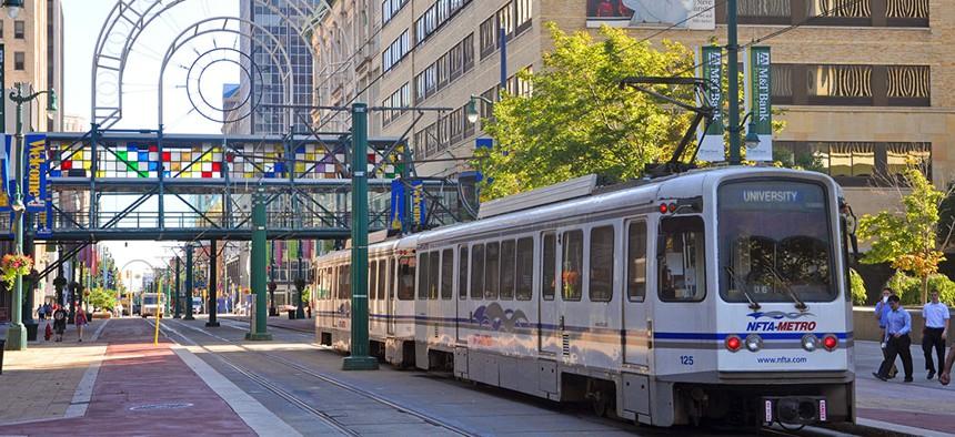 Metro Rail on Main Street in downtown Buffalo, NY.