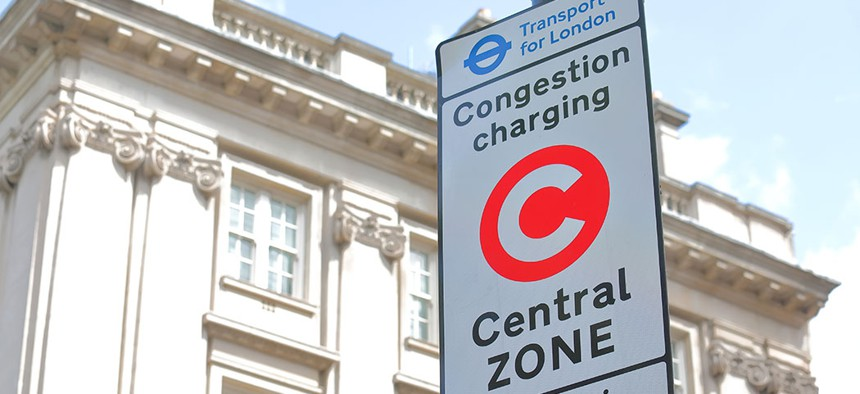 A congestion charge point sign in London.