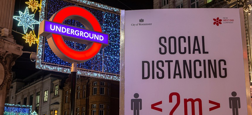 COVID-19 restrictions sign in London in November 2020.