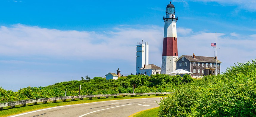 The Montauk Point Lighthouse in Long Island, New York.