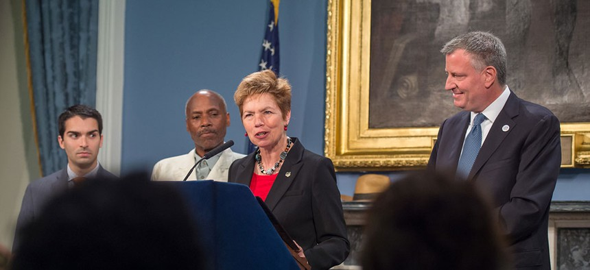 New York City Mayor Bill de Blasio appoints General Loree Sutton to be Commissioner of the Mayor's Office of Veterans Affairs in 2014.