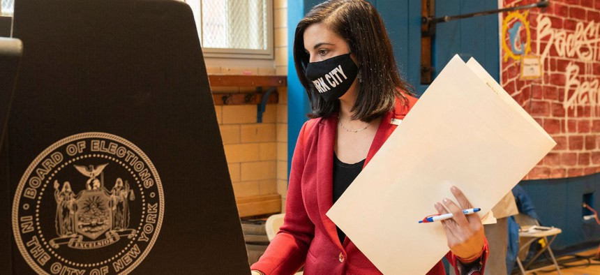 Republican congressional candidate Nicole Malliotakis voting early on October 26th.