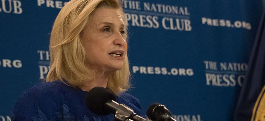 Congresswoman Carolyn Maloney speaks at the National Press Club.