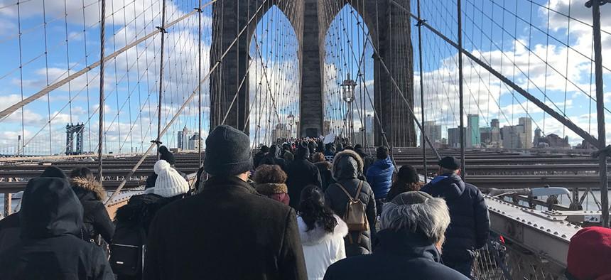 Demonstrators on the Brooklyn Bridge.