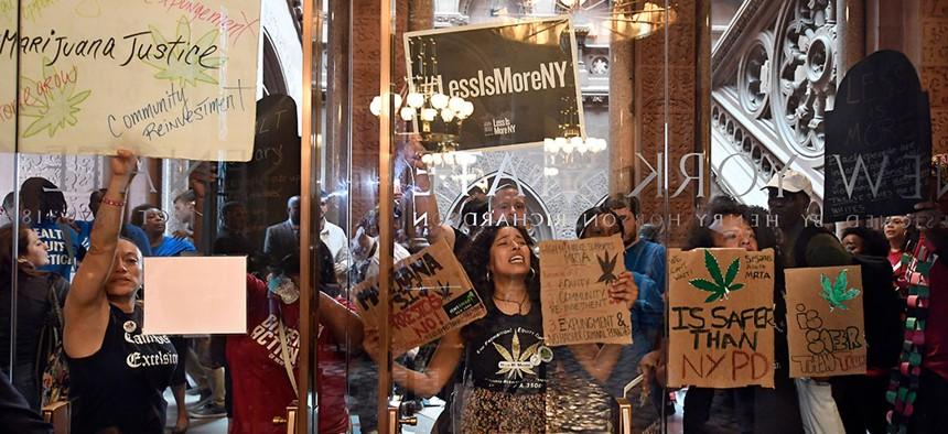 Protesters in Albany pushing New York legislators to pass marijuana legalization.