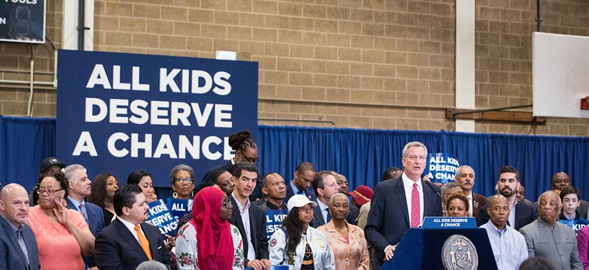 New York City Mayor Bill de Blasio makes an education announcement about test-based admissions in to specialized high schools at J.H.S. 292 in Brooklyn.