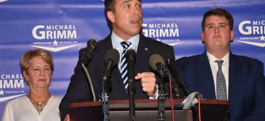 Michael Grimm making his concession speech.