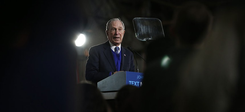 Bloomberg at a campaign rally in Tennessee days before dropping out of the presidential race.