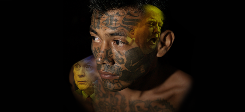 President Donald Trump and U.S. Attorney General superimposed over the face of an MS-13 gang member