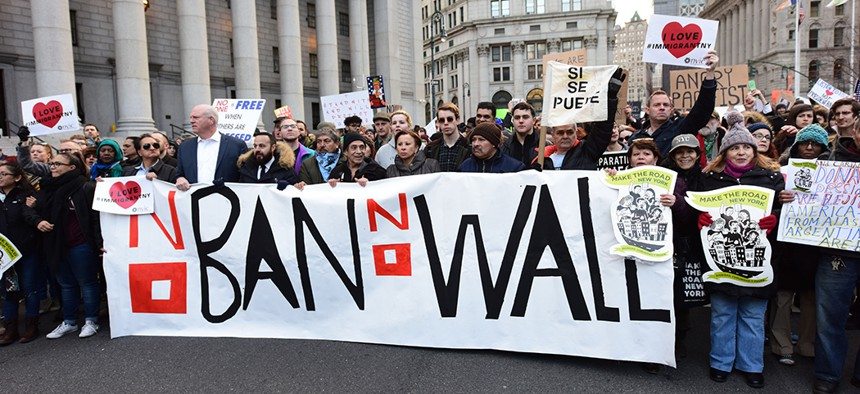 Activists and New York City leaders protest Donald Trump's immigration ban in January.
