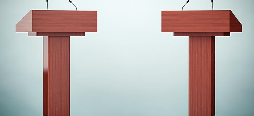 two empty debate podiums