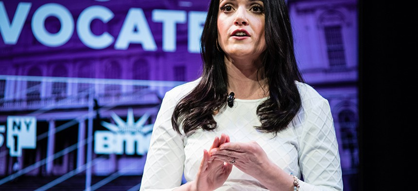 Nomiki Konst during the second new york city public advocate debate