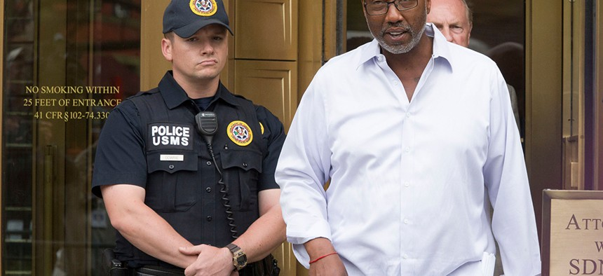 Norman Seabrook, former president of the New York City Correction Officers' Benevolent Association, seen here leaving court after initially being charged, was found guilty this week of bribery and conspiracy after his first trial ended in a mistrial.