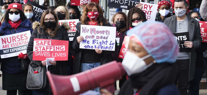 Nurses outside of Montefiore Moses Hospital in the Bronx.