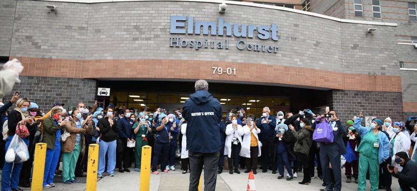 Bill de Blasio visits NYC Health+Hospitals Elmhurst.