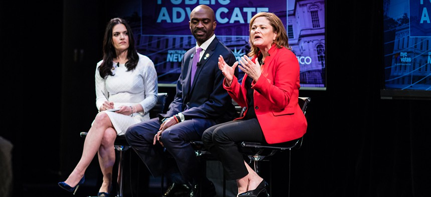 New York City public advocate candidates Nomiki Konst, Michael Blake and Melissa Mark-Viverito during the second official debate.