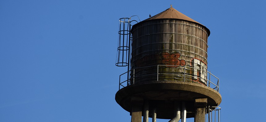 water tanks atop NYCHA's Elliott housing development