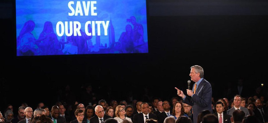 Mayor Bill de Blasio delivers his seventh State of the City address at the American Museum of Natural History on Thursday, February 6, 2020.Mayor Bill de Blasio delivers his seventh State of the City address at the American Museum of Natural History on Th