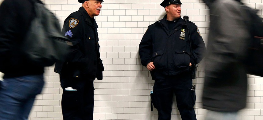 New York Police Department officers patrolling the city's subway system.