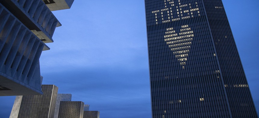 Corning Tower is lit up with NY Tough at the Empire State Plaza in Albany.