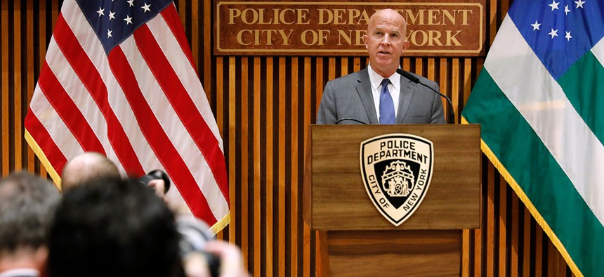 NYPD Commissioner James O'Neill at the press conference, announcing NYPD officer Daniel Pantaleo's termination.