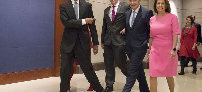 US President Barack Obama with Rep. Joe Crowley (left), Sen. Chuck Schumer (center) and House Minority Leader Nancy Pelosi (right) in January, 2017.