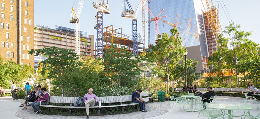 The newly developed Hudson Yards Park in Manhattan.