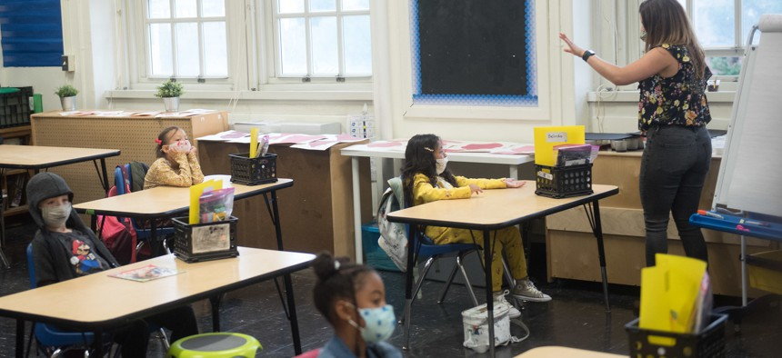 A class at the Parkside School in October 2020.